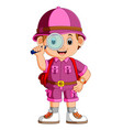 cute hiker boy holding magnifier vector image vector image