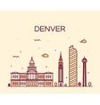 Denver skyline trendy linear vector image vector image