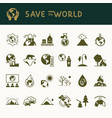 different variants of environmental icons on the vector image vector image
