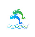 dolphins water jumping logo icon vector image