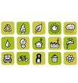 doodle icon set eco vector image vector image