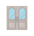 door with glass on white background vector image vector image