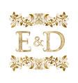 e and d vintage initials logo symbol vector image vector image