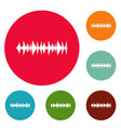 equalizer song icons circle set vector image vector image