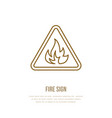 fire danger flat line sign flame protection thin vector image vector image