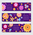 floral horizontal banner templates vector image