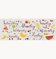 fresh fruit berries and hand made lettering vector image
