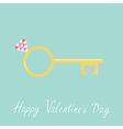 Golden heart key wedding engagement ring vector image