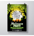Halloween Party Flyer with pumpkins and moon vector image vector image