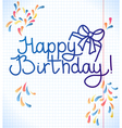 Happy Birthday card design school paper vector image