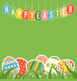 happy easter in tag and colorful eggs vector image