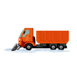 heavy equipment cleans road from snow vector image vector image