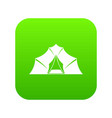 hiking and camping tent icon digital green vector image vector image