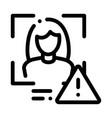 Identity alert woman icon outline