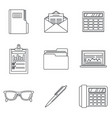 international accounting day icon set outline vector image