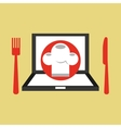 laptop delivery food app vector image