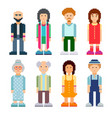 people characters set colourful pixel art style vector image