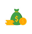 pile coins and bag with money vector image
