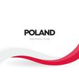 polish waving flag red and white ribbon vector image