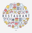 restaurant concept in circle with thin line icons vector image vector image