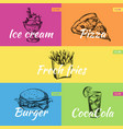 retro hand drawn fast food posters set vector image