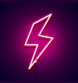 retro neon bolt sign glowing lightning icon vector image vector image