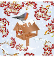 seamless texture landscape with snow and robin vector image vector image