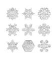 set 3d snowflake icons snow christmas winter vector image vector image
