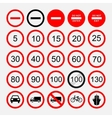 set of road signs warning signs or prohibiting vector image vector image