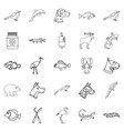 sick animal icons set outline style vector image vector image