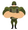 Soldiers in flak vest Military helmet Powerful vector image vector image