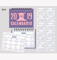 spiral spanish calendar year 2019 2020 with cute vector image vector image