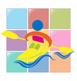 Sport icon for kayaking in colors vector image vector image
