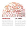 thanksgiving day line template vector image vector image