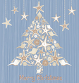 tropical seashell christmas tree card vector image vector image