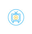 tv with antenna line icon vector image vector image