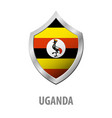 uganda flag on metal shiny shield vector image