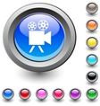 Video camera round button vector image
