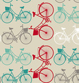 Vintage seamless background with bicycles vector image vector image