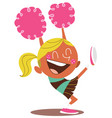 yound blond of a smiling cheerleader cheering vector image vector image