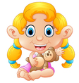 girl holding bear doll vector image