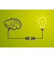 idea concept - light bulb connect to the brain vector image