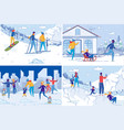 active winter vacation and extreme sports fun set vector image
