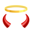 Angels halo and devils horns vector image vector image