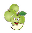 apple cute characters set in cartoon style vector image