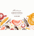 autumn harvest festival design traditional vector image vector image