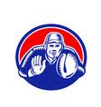 baseball catcher oval woodcut vector image