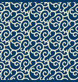 blue seamless pattern with white swirl branches vector image vector image