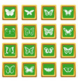 butterfly icons set green vector image vector image