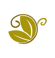butterfly leaf logo design icon isolated vector image vector image